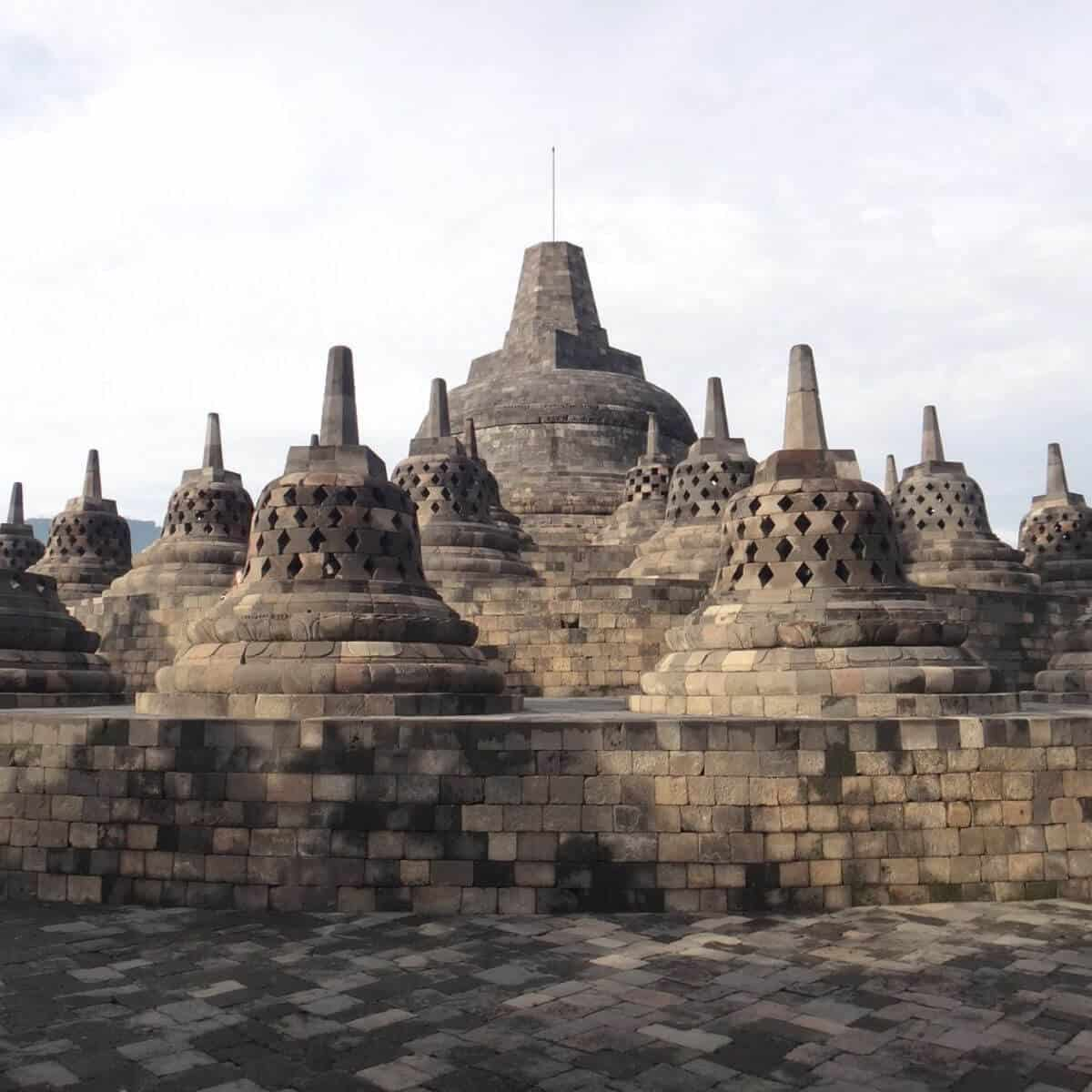 Borobudur Temple in Indonesia on a cloudy day.