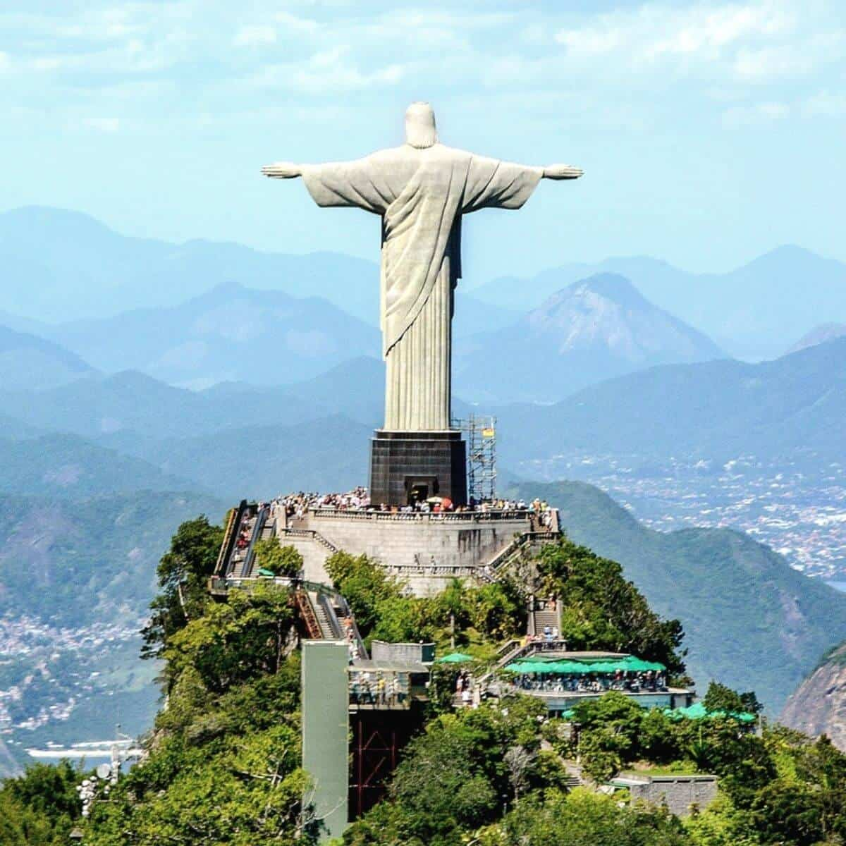 Back of Christ the Redeemer statue in Brazil.