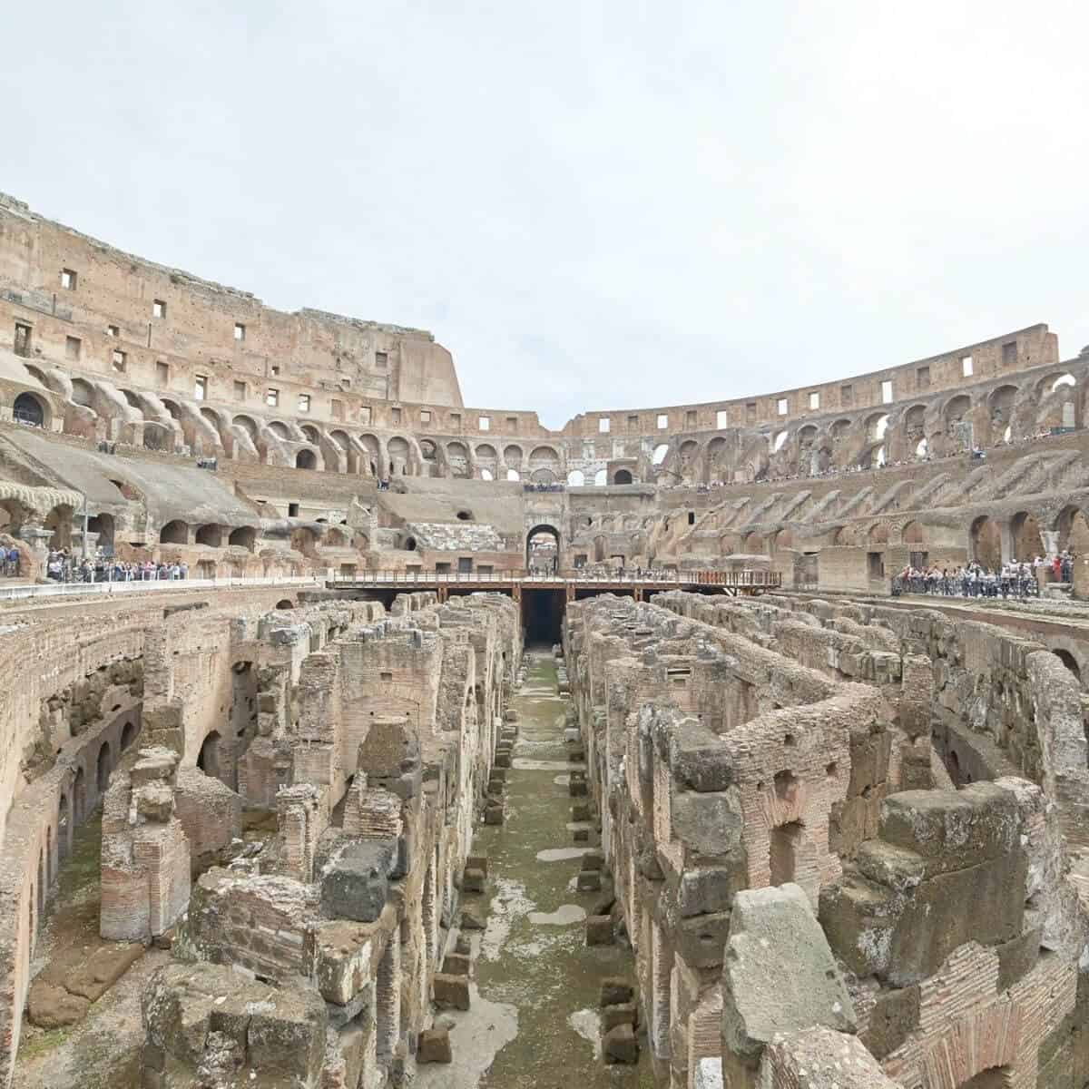Inside the Colosseum in Rome.