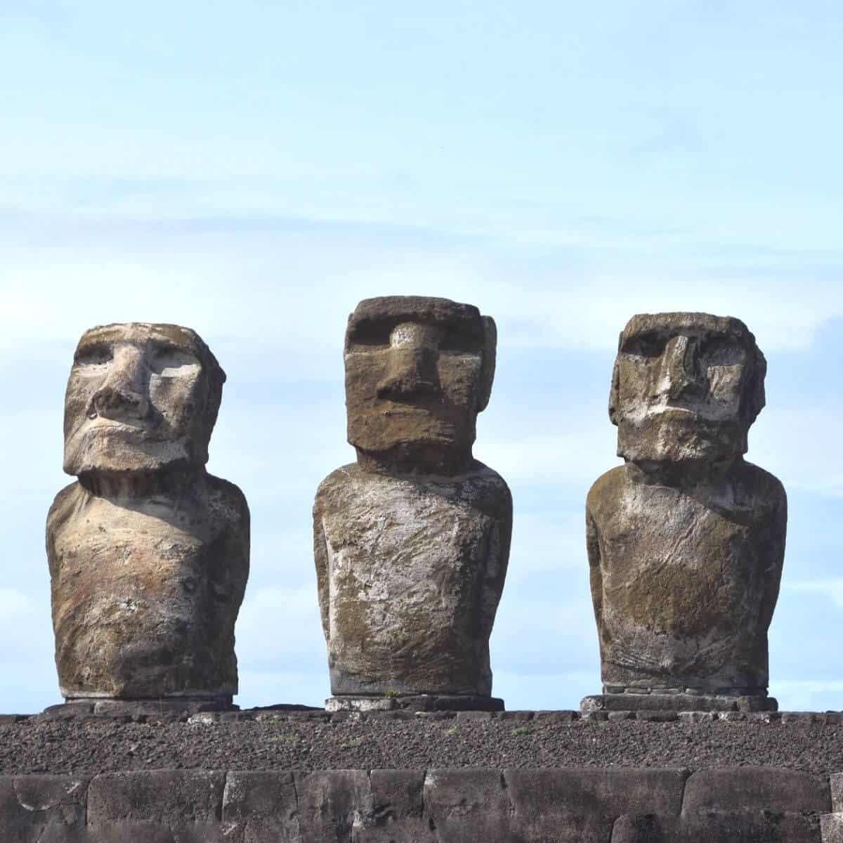 Three moai statues in Easter Island.
