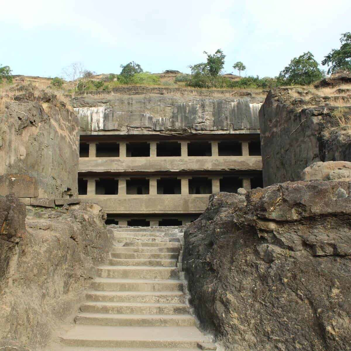 Stairway leading to Ellora Caves.