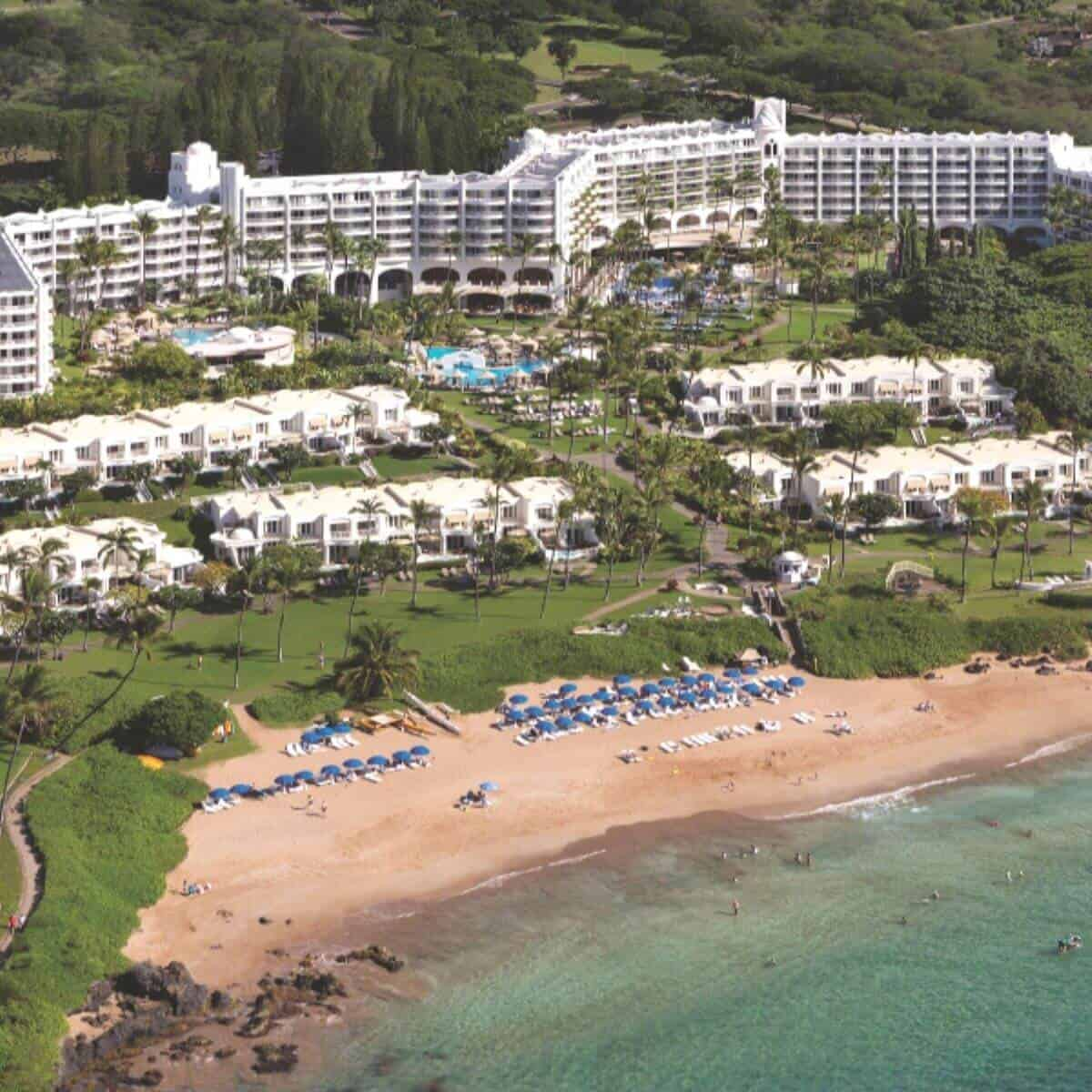 Aerial view of the beach and Fairmont Kea Lani resort.