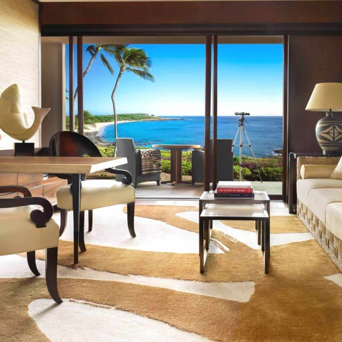 View of the ocean from an oceanfront suite at the Four Seasons Lanai.