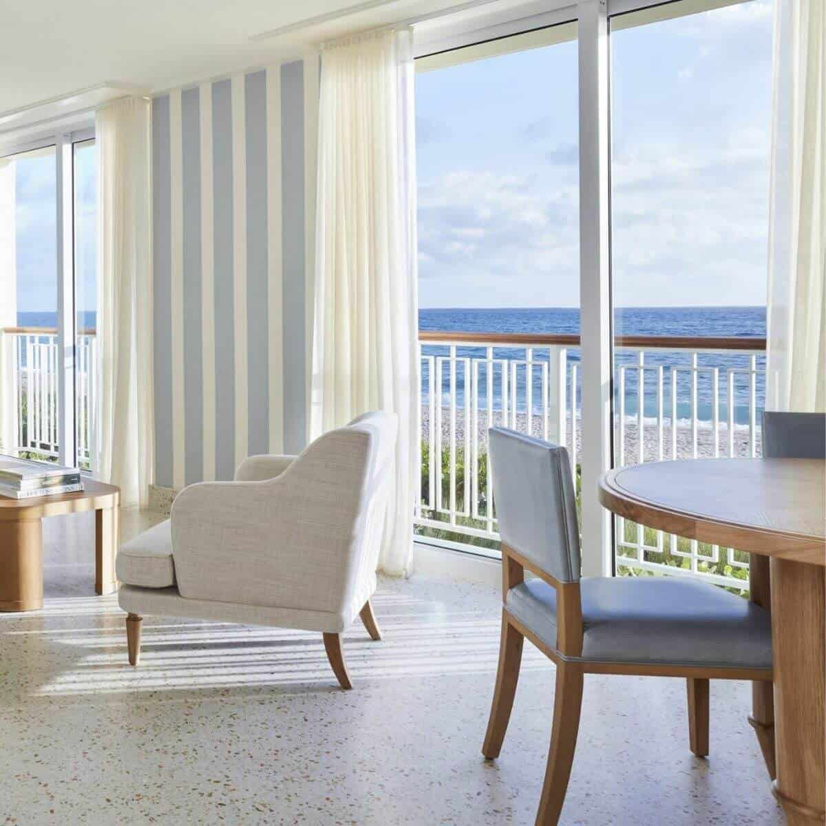 View of the Atlantic Ocean from a suite in the Four Seasons Resort Palm Beach.