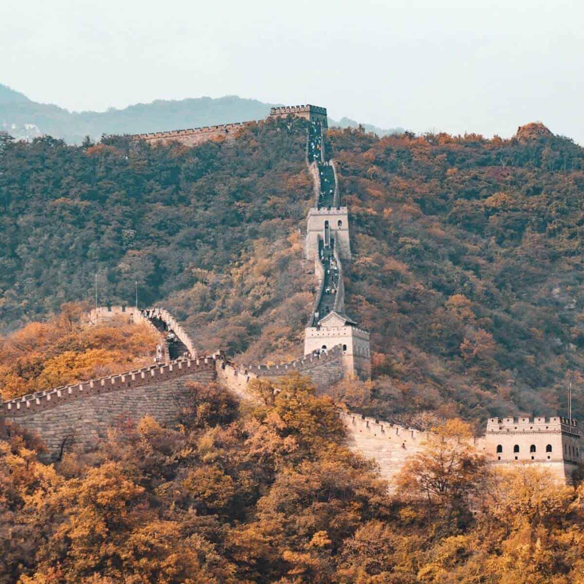 Great Wall of China during the Fall season.