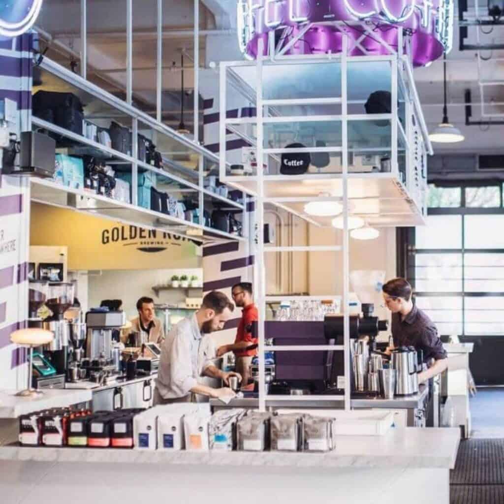 Inside La Marzocco Cafe in Seattle.
