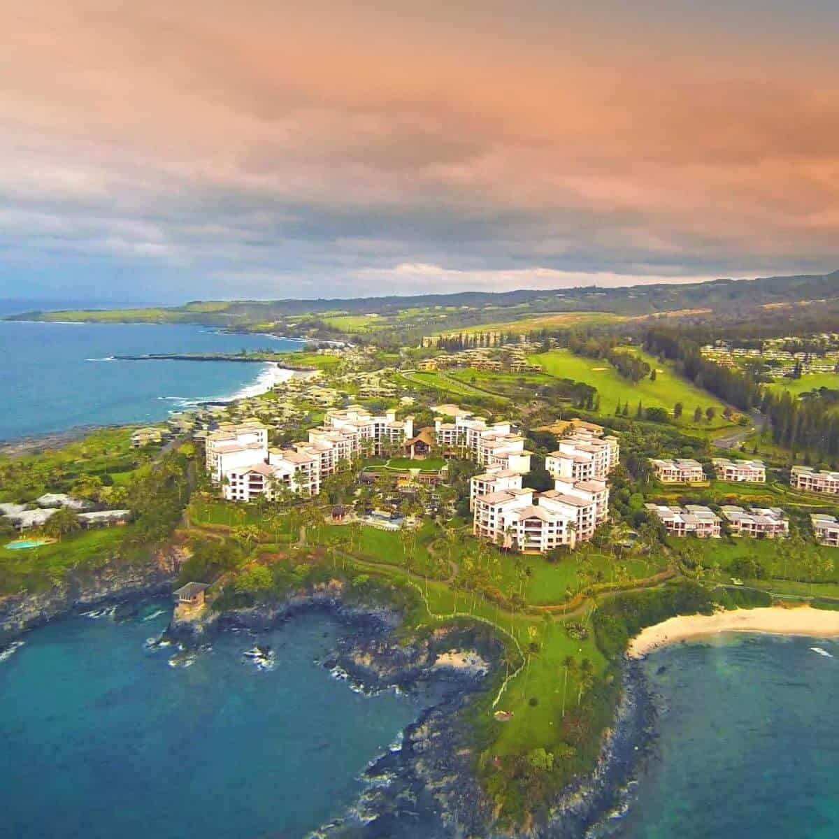 Aerial view of Montage Kapalua Bay hotel.