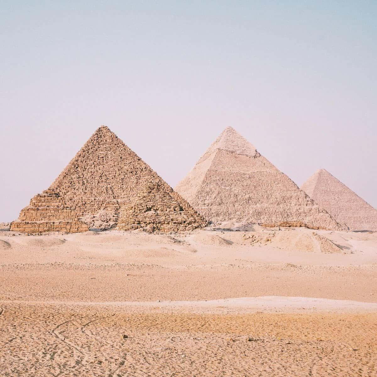 Pyramids of Giza during sunrise.