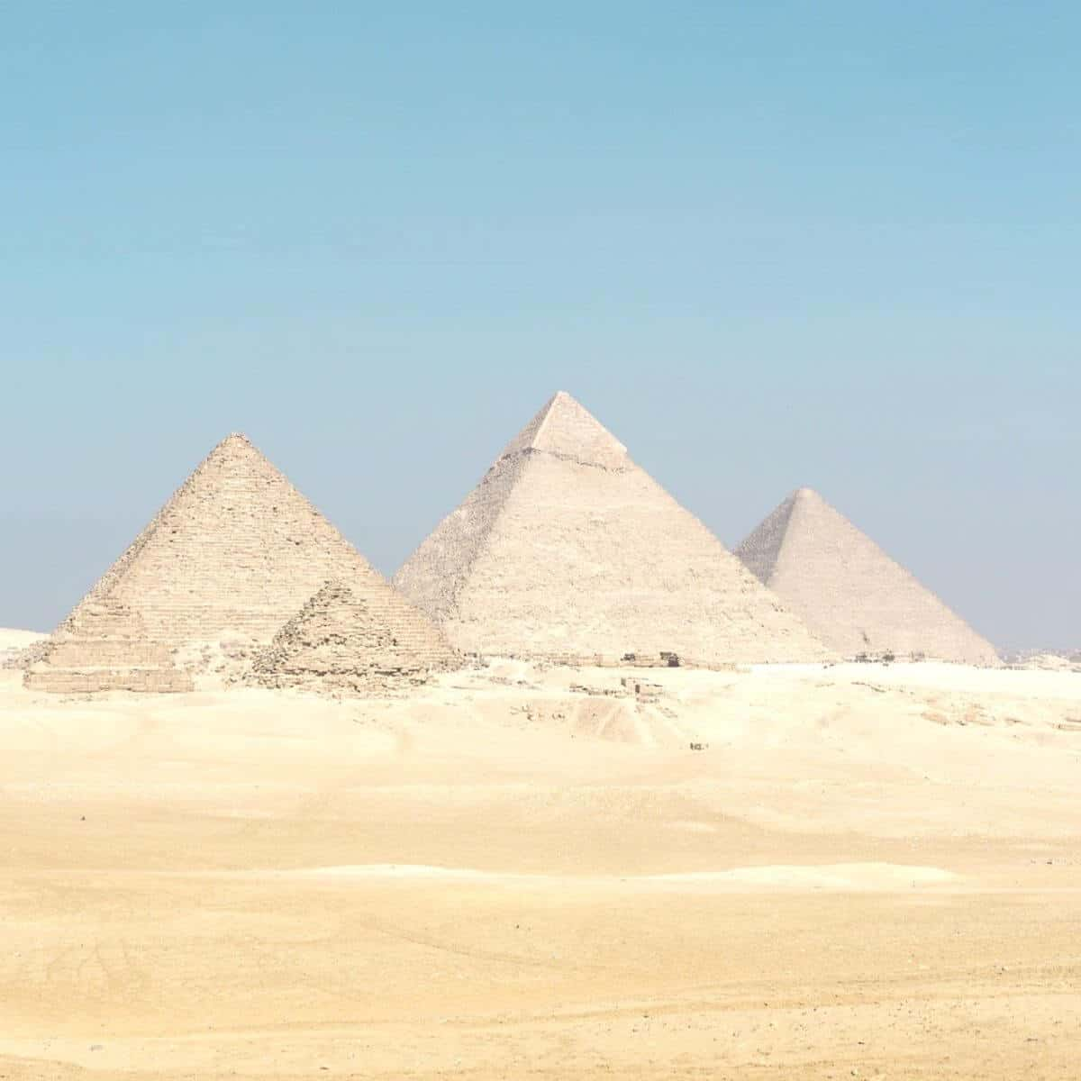 Pyramids of Giza during the day.