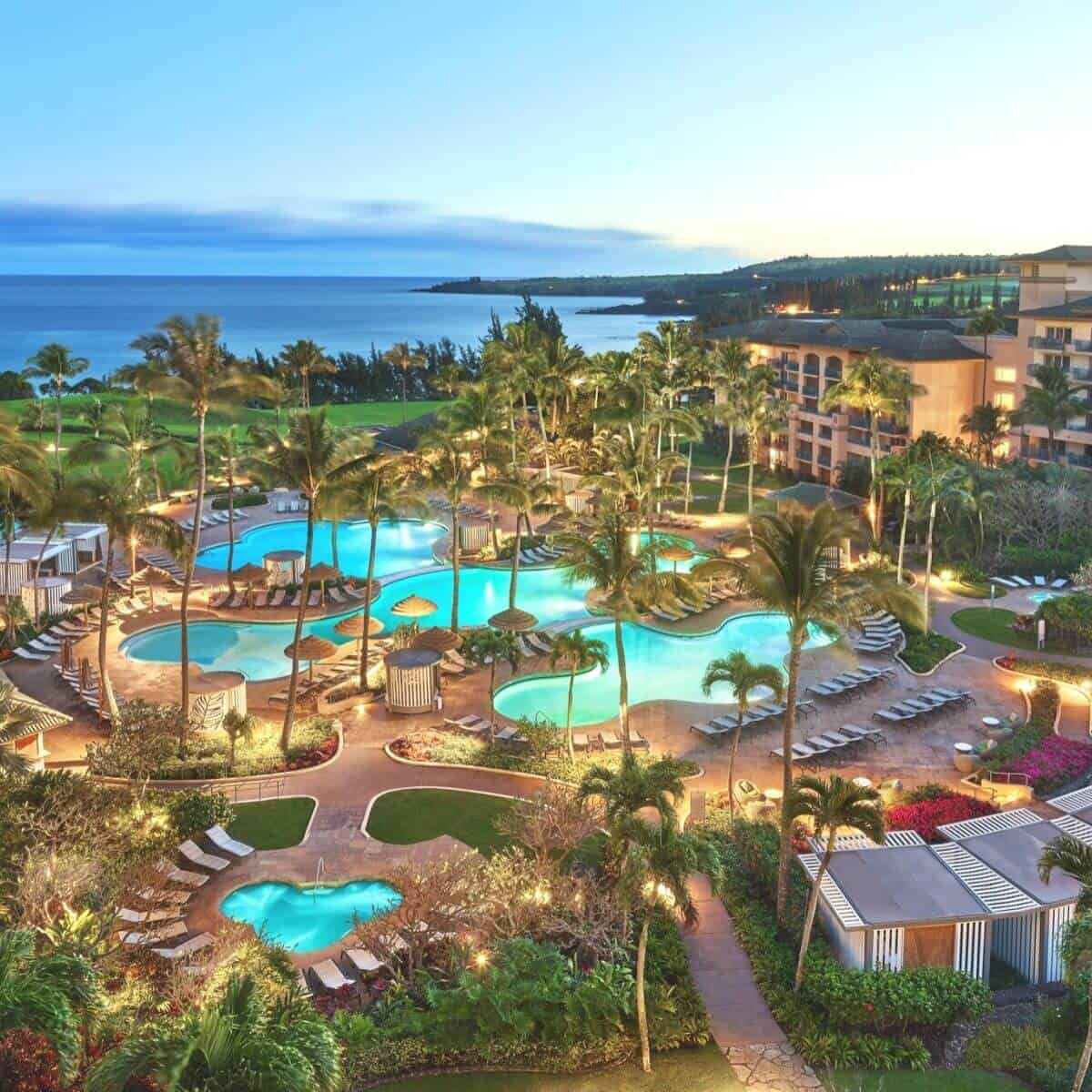 Aerial view of the pools at The Ritz-Carlton in Kapalua.