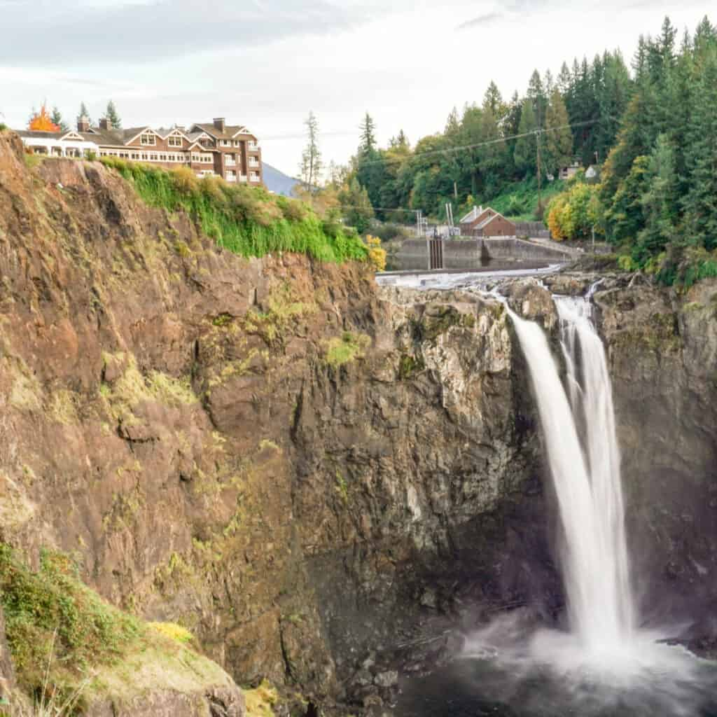 Salish Lodge and Spa with Snoqualmie Falls below it.