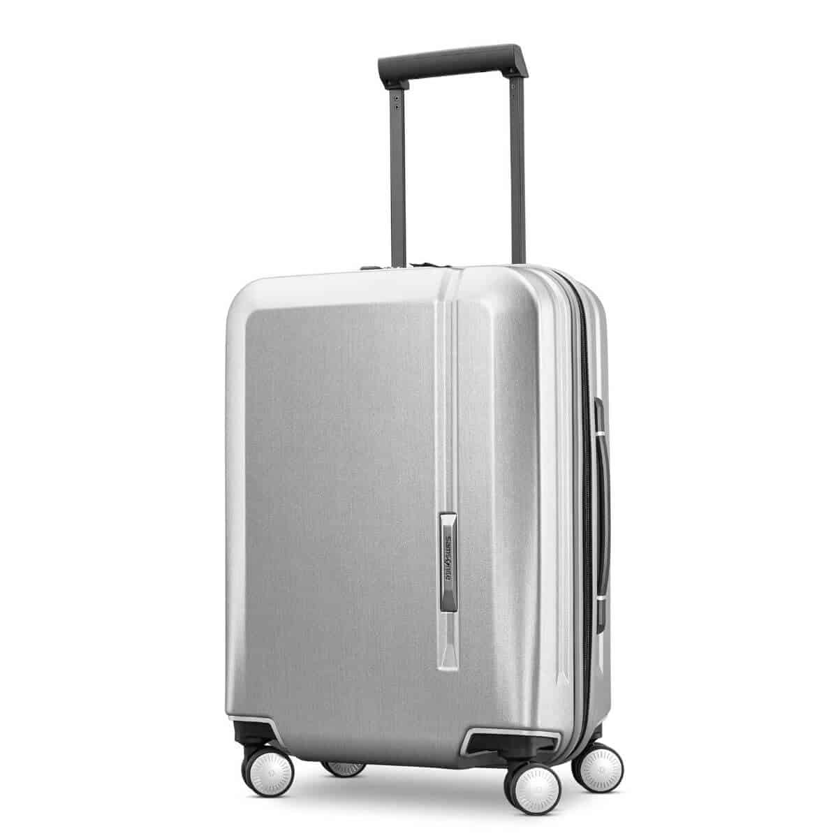 Silver hard-shell luggage by Samsonite.