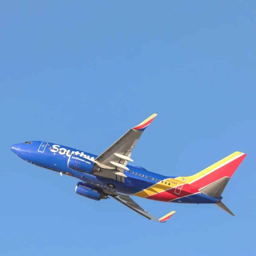 Southwest Airlines airplane in the sky.
