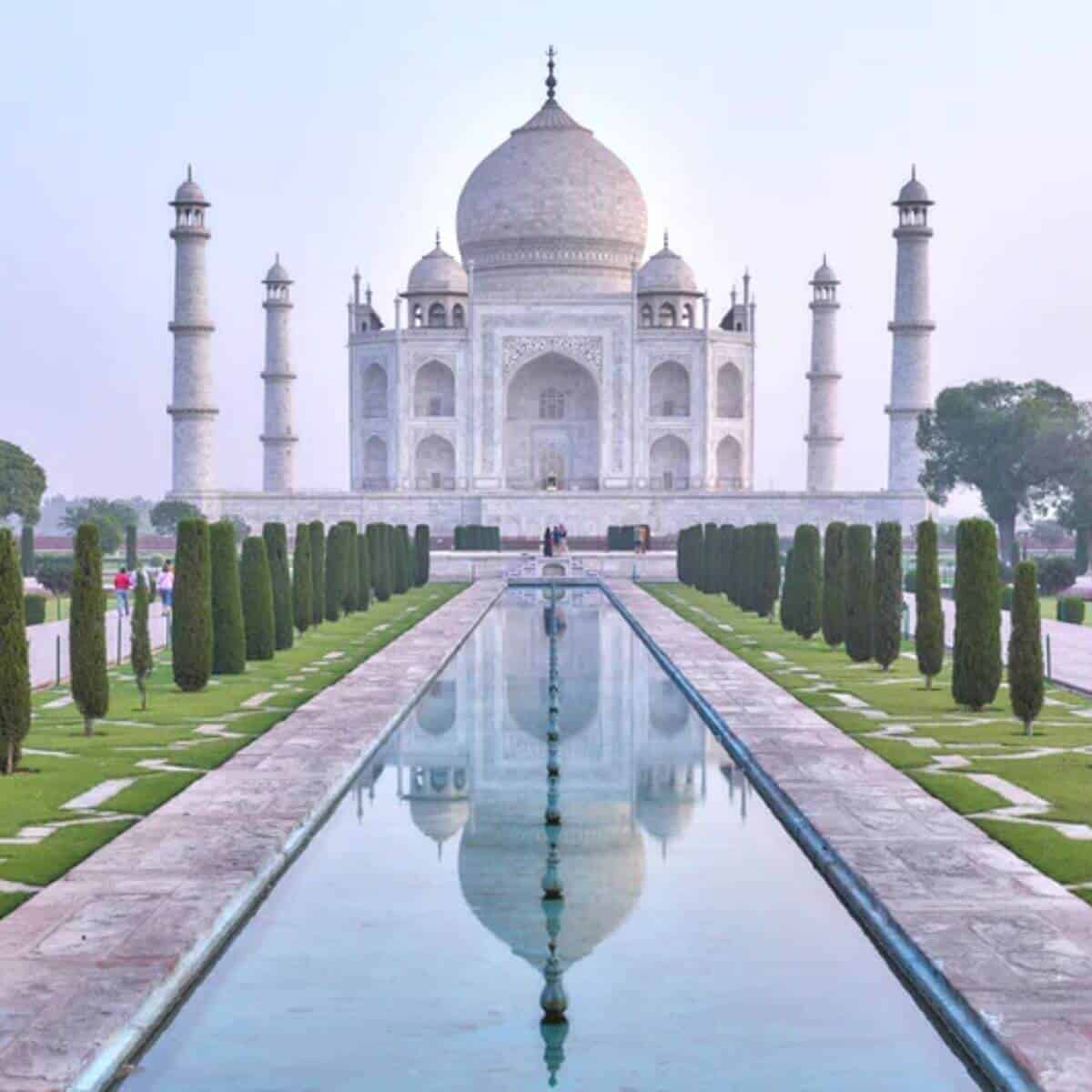 View of Taj Mahal from the reflecting pool.