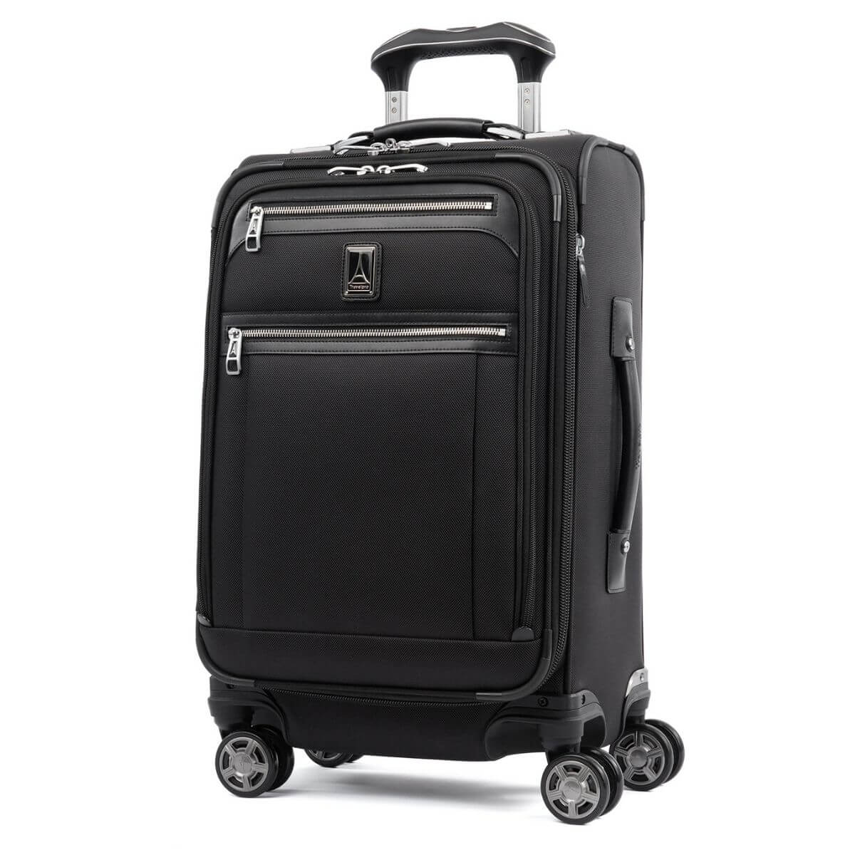 Black Travelpro soft-shell carry-on luggage.