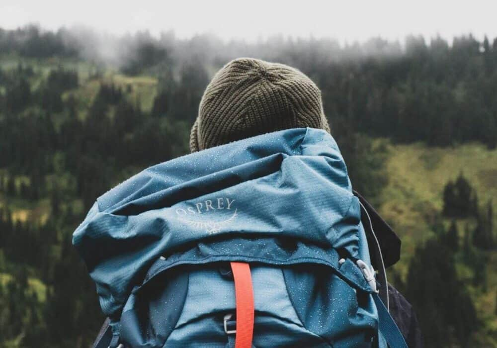 Person wearing a backpack and beanie looking out towards the forest.