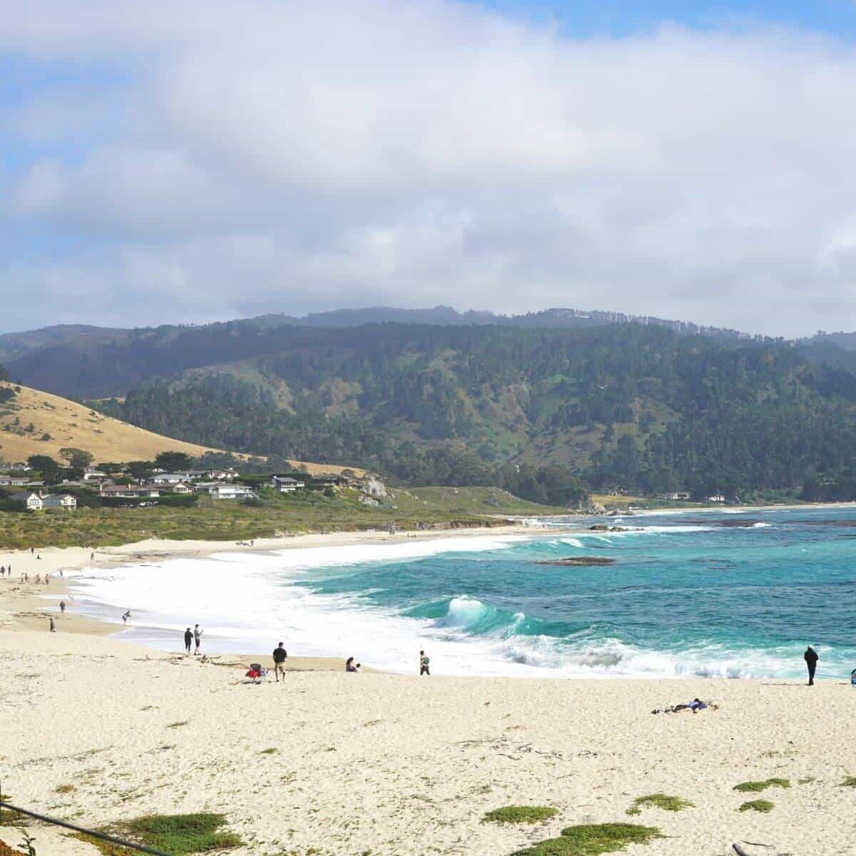 Carmel Beach with Cypress trees in the background.