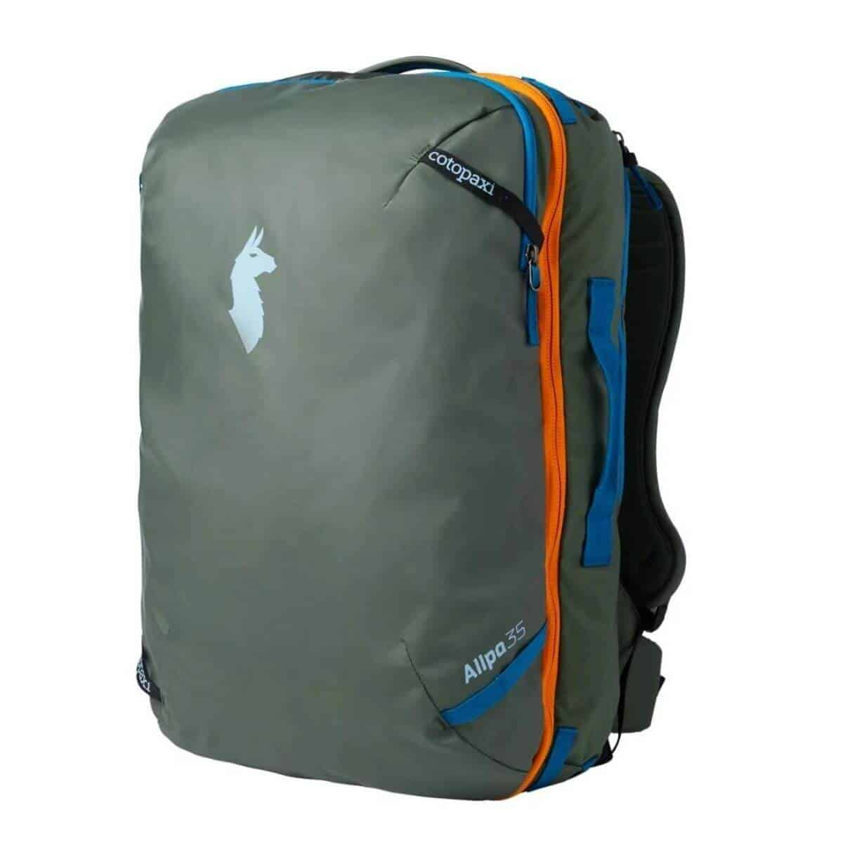 Olive green, orange, and blue backpack.