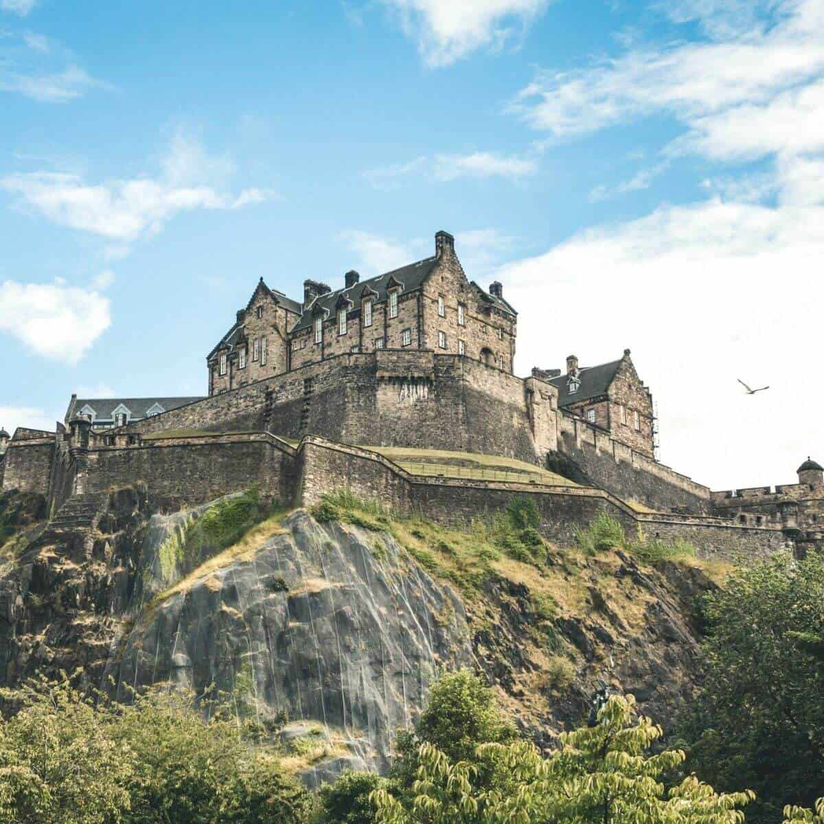 View of the Edinburgh Castle in Scotland from below.