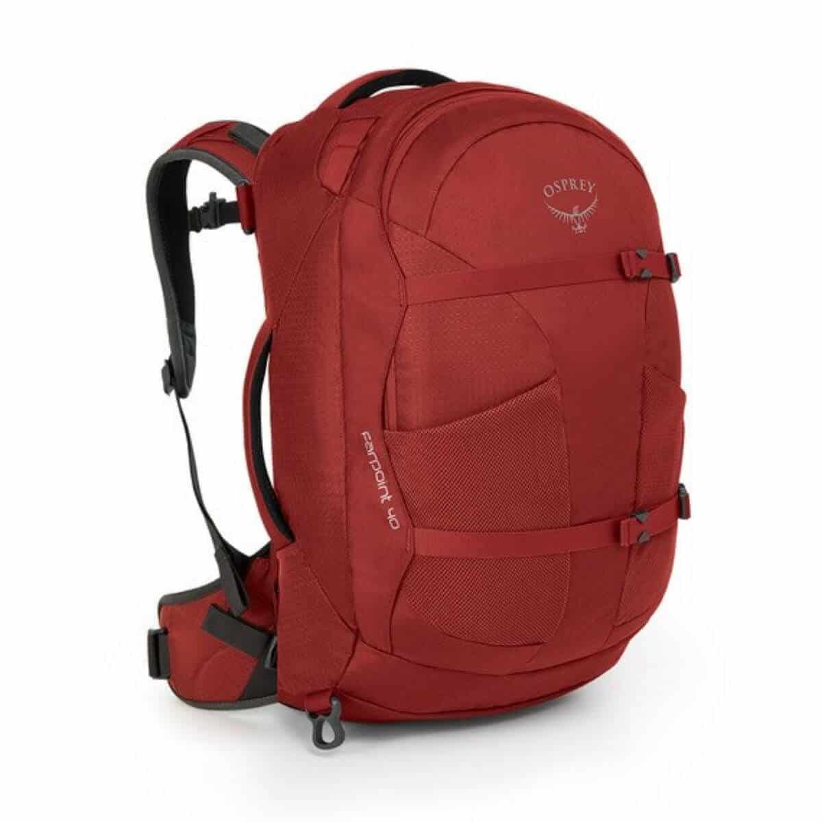Red Osprey travel backpack.
