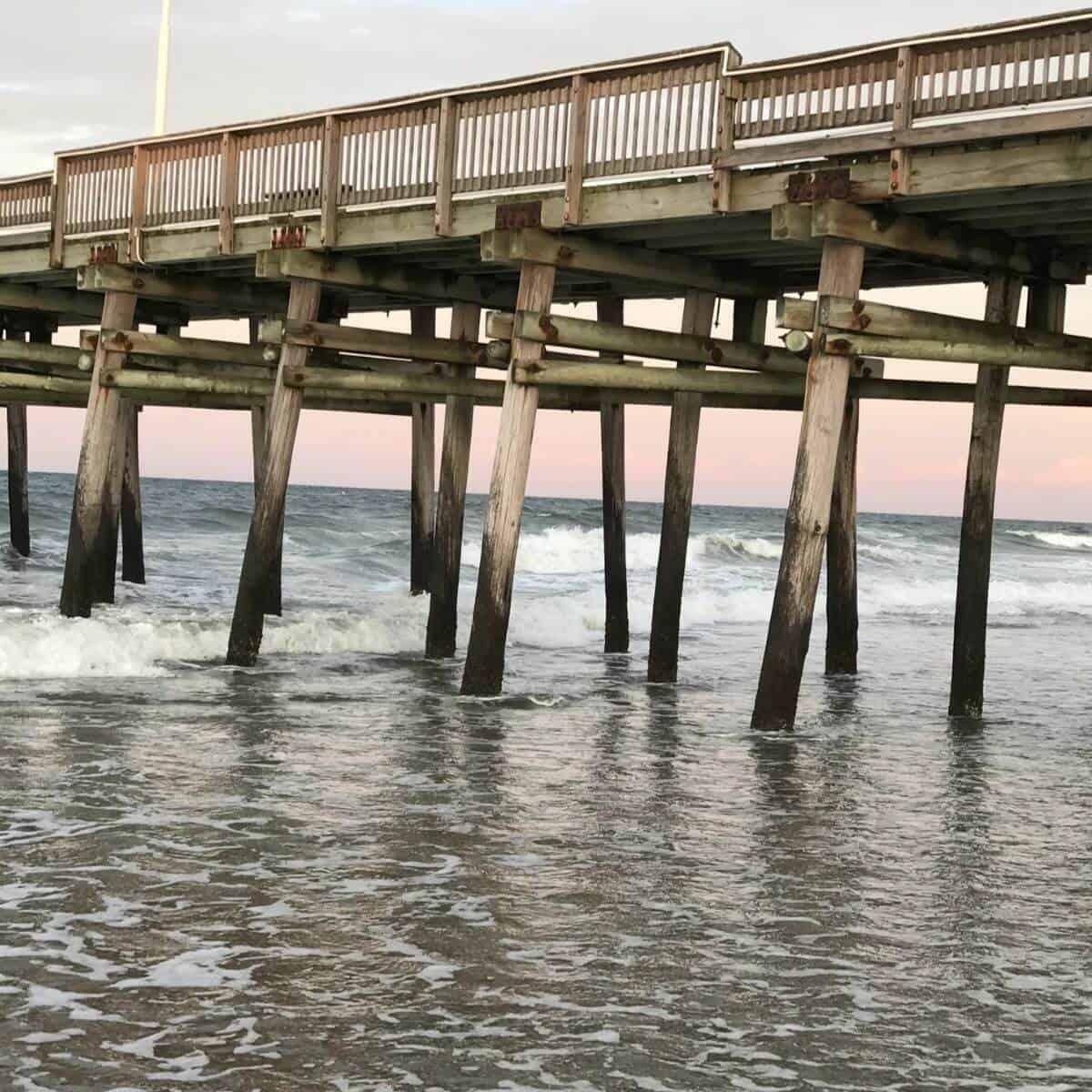 Wooden pier at Sandbridge Beach.