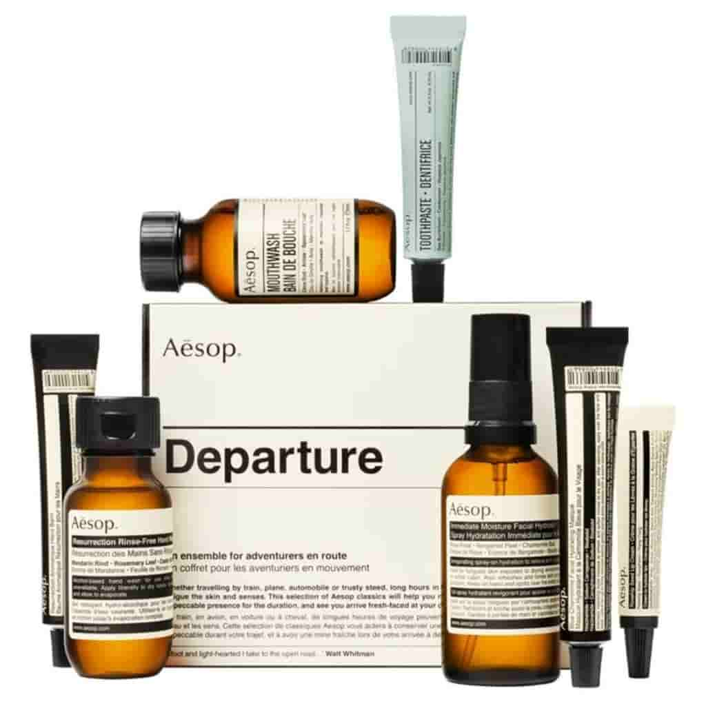 Aesop travel-sized items in a kit.