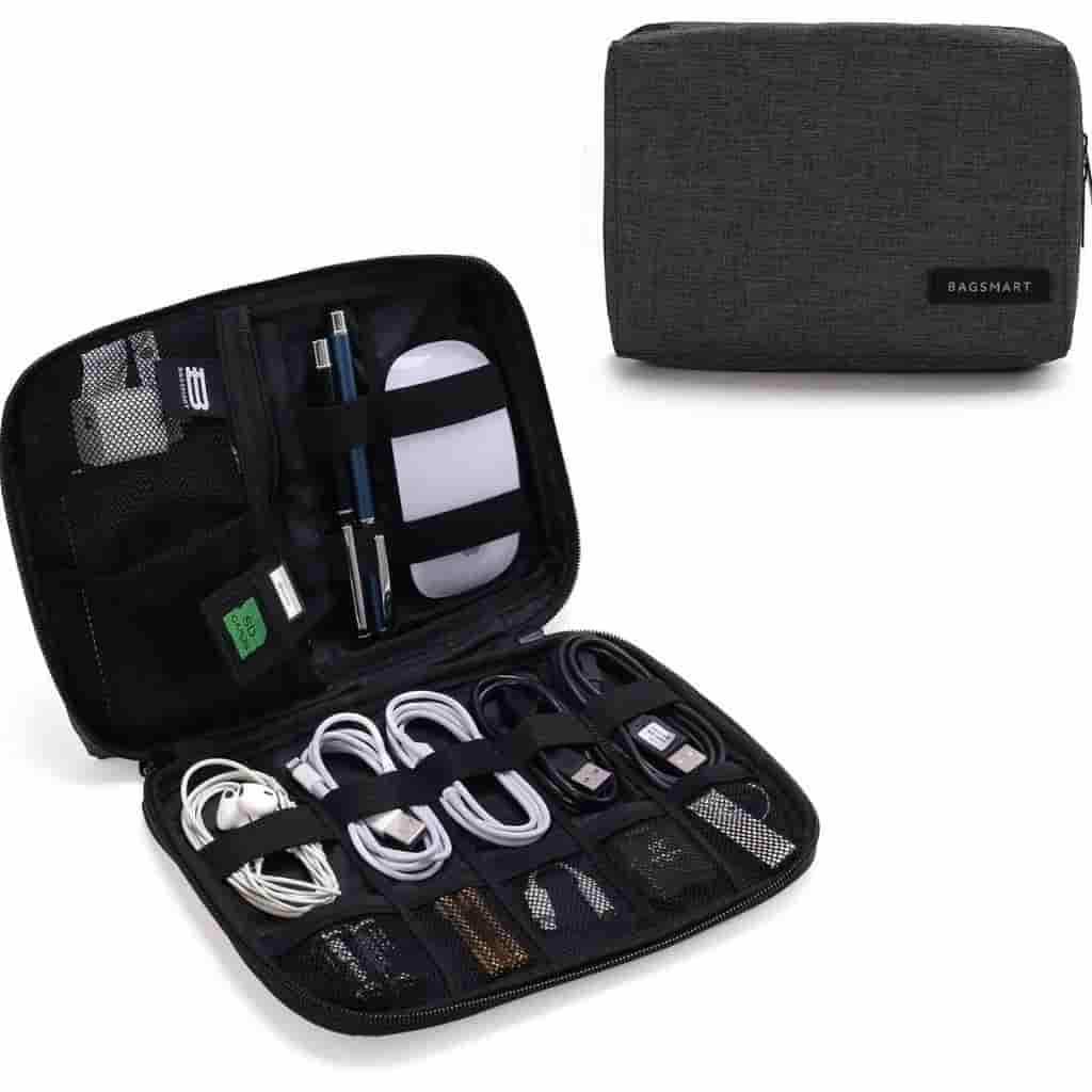 Opened and closed electronics organizer by BAGSMART.
