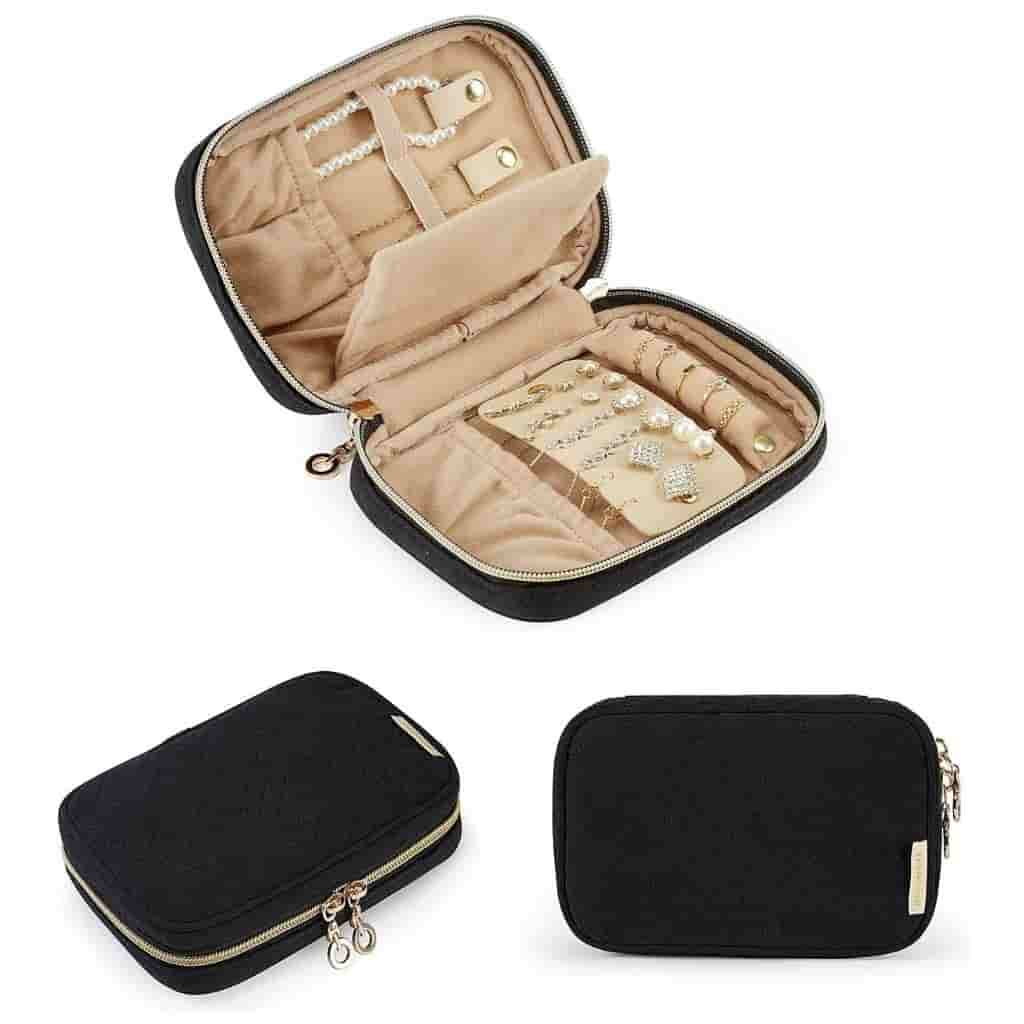 Black travel jewelry case shown at different angles.