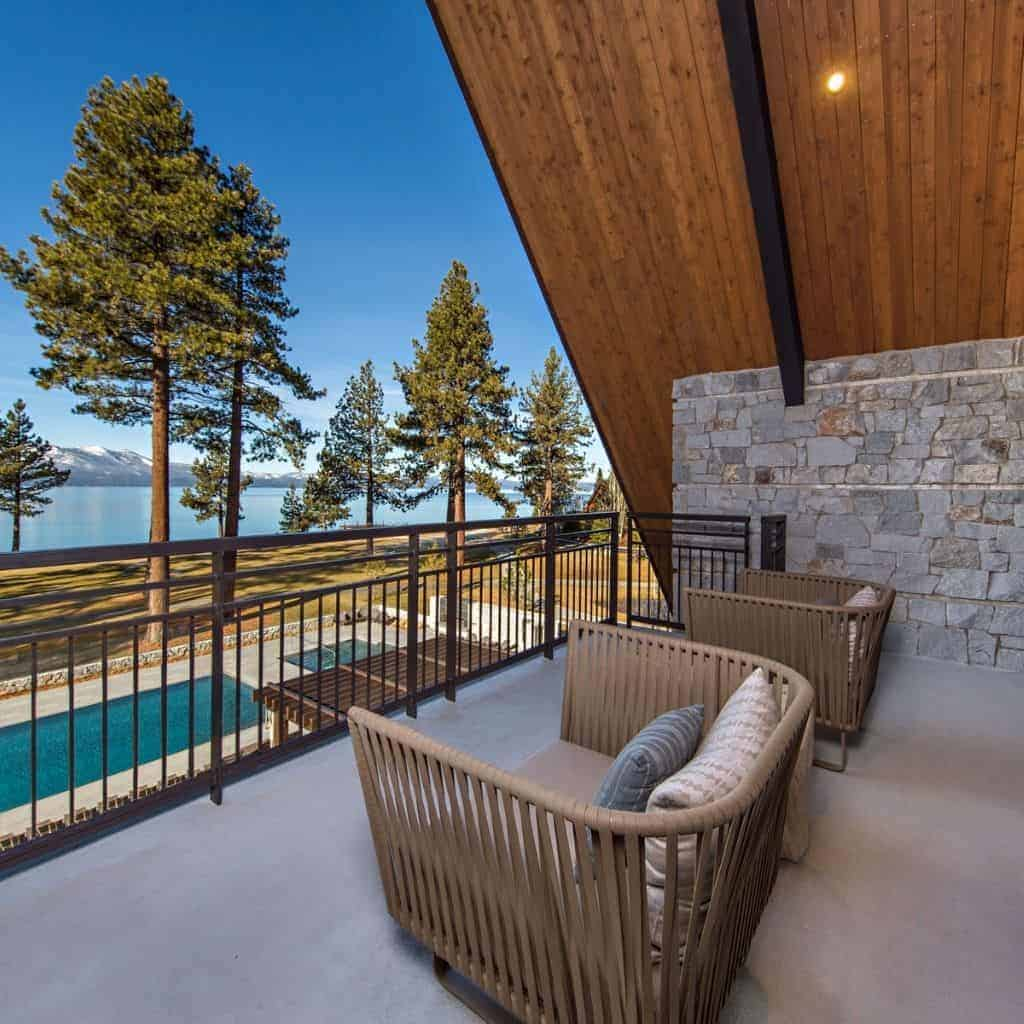 Balcony and chairs at the Edgewood Tahoe hotel.