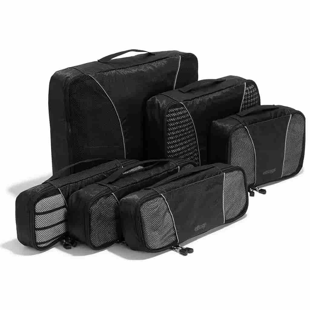 Six black eBags packing cubes of different sizes.