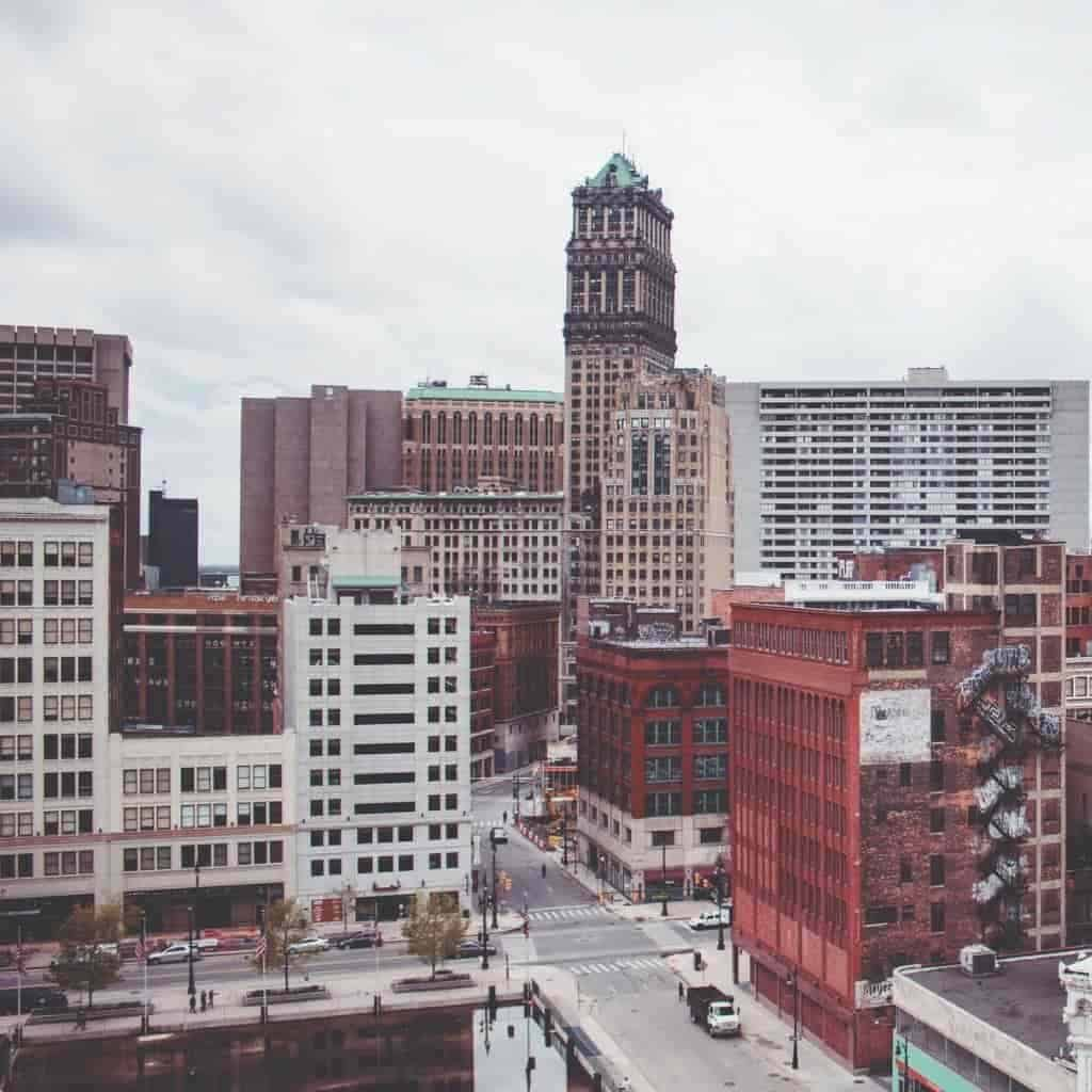 Buildings in downtown Detroit on a cloudy day.