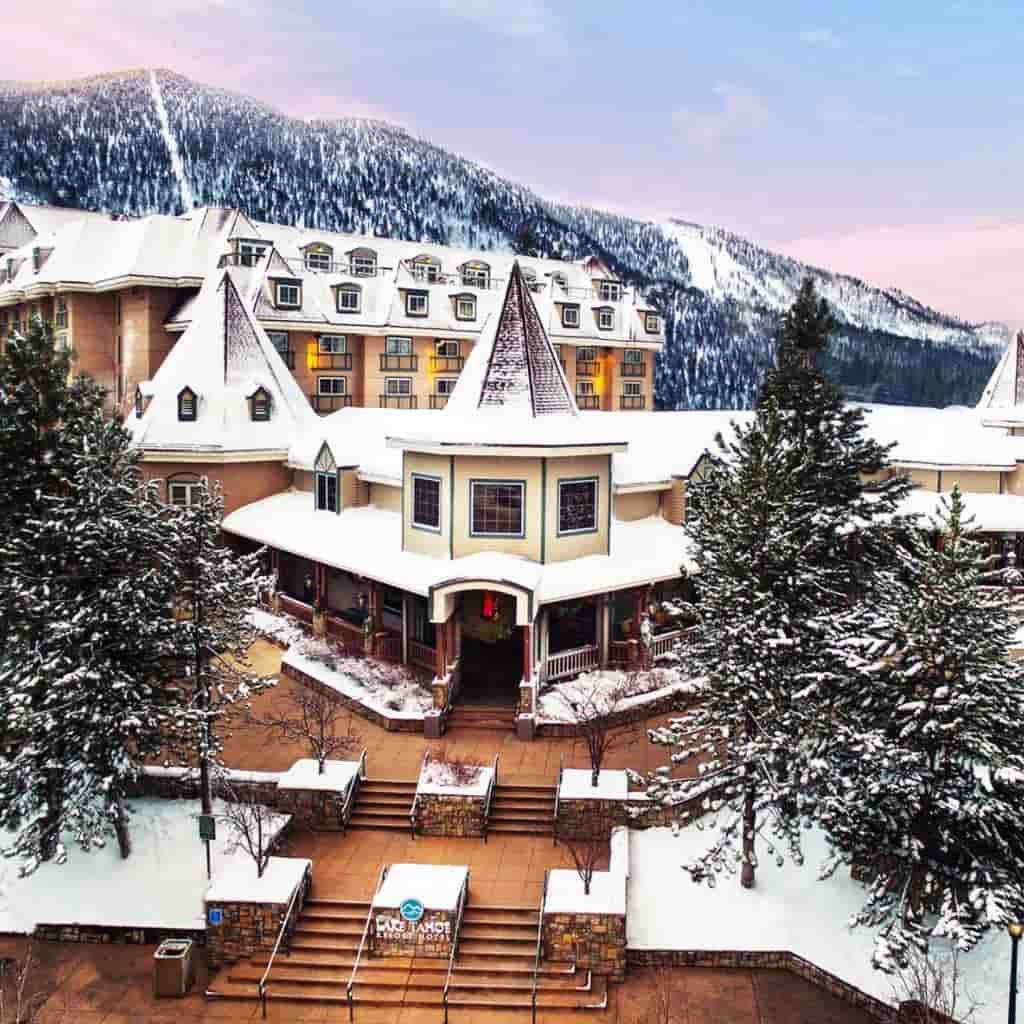 Exterior of Lake Tahoe Resort Hotel with snow on the roof.