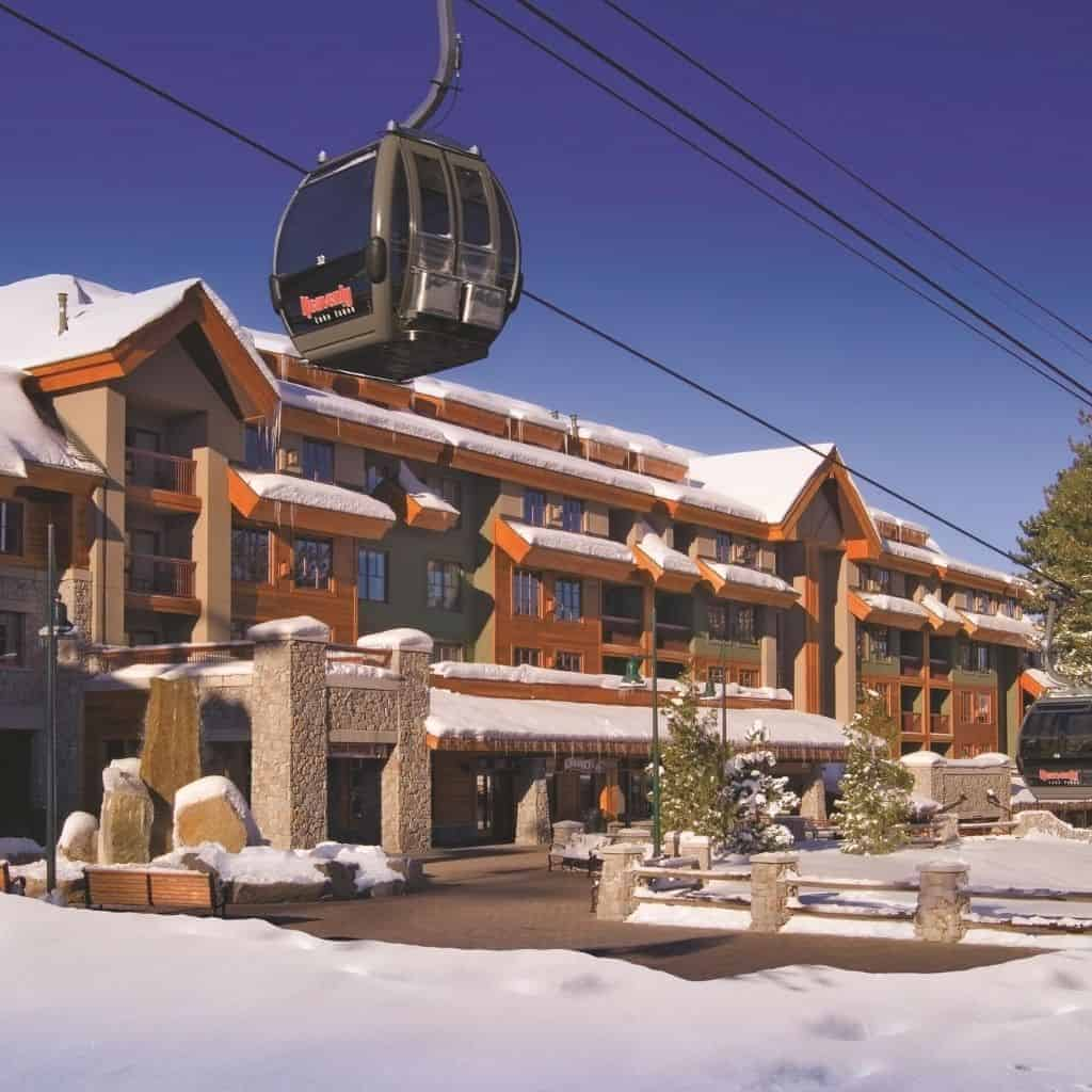 Exterior of the Marriott Grand Residences at Lake Tahoe with a ski lift.