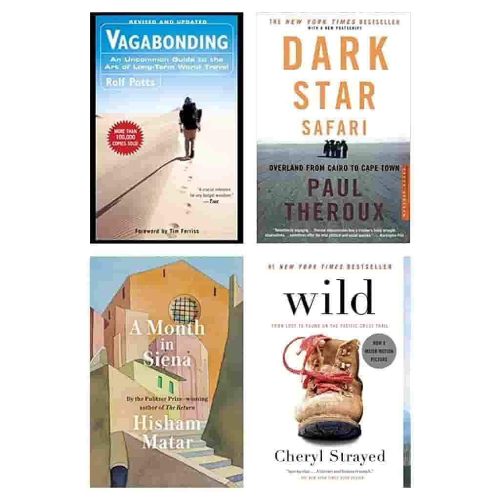 Four travel book covers.