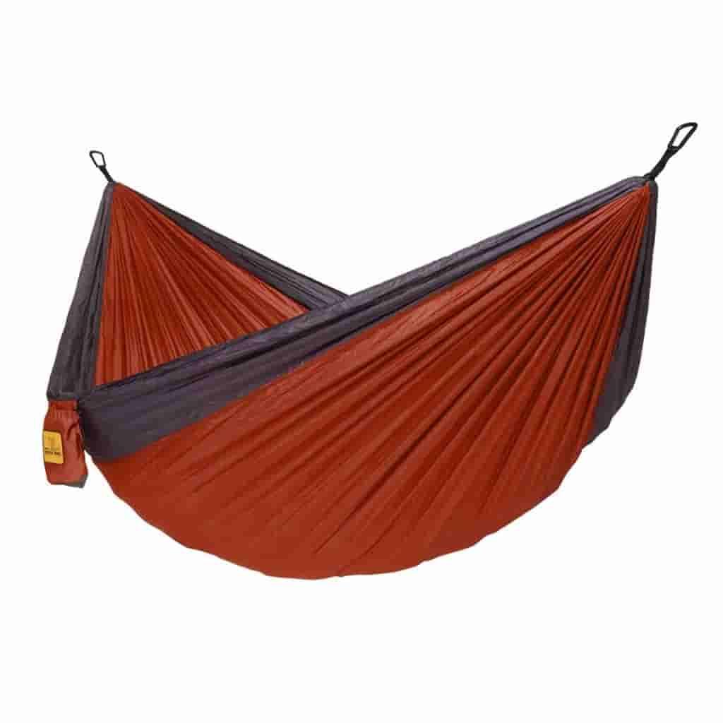 Orange and black hammock.