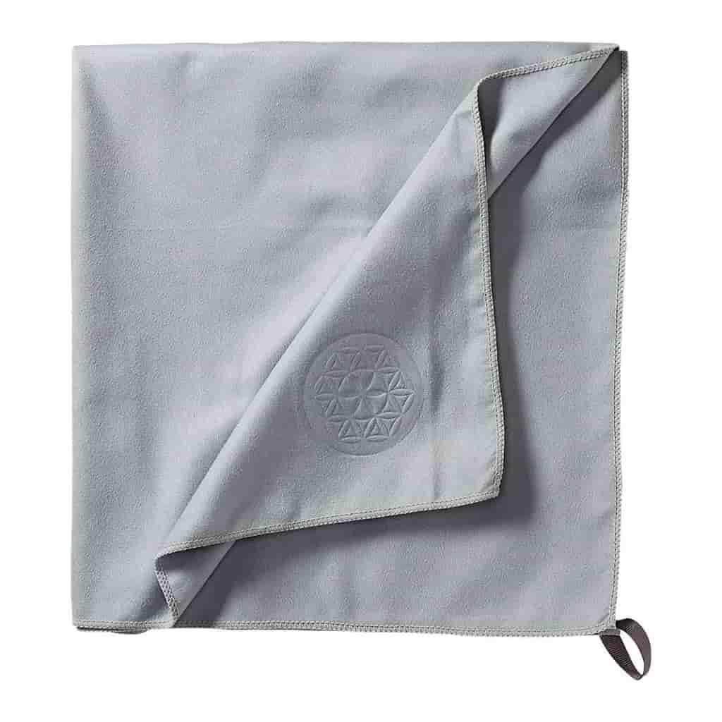 Grey microfiber travel towel.