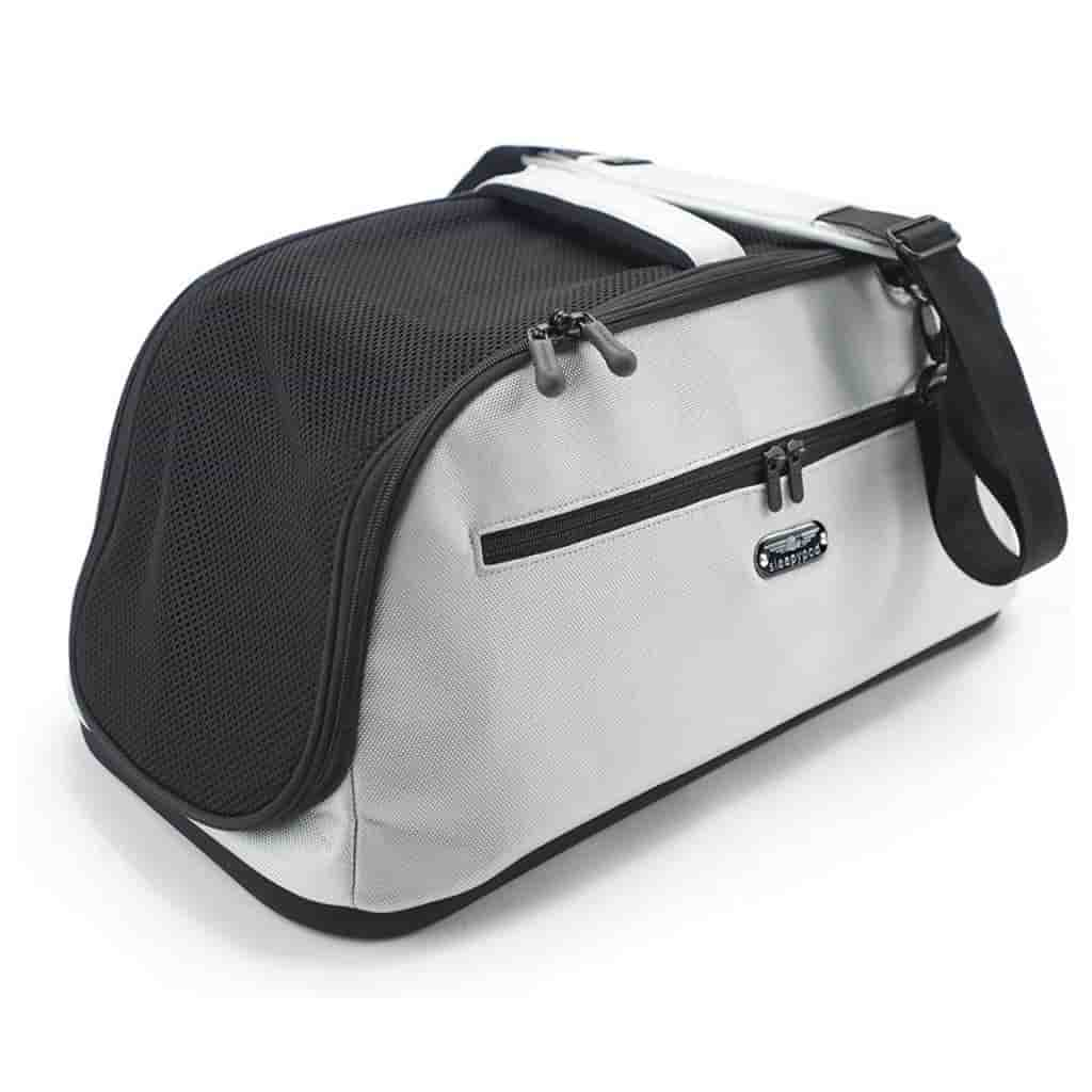 Black and silver pet carrier.