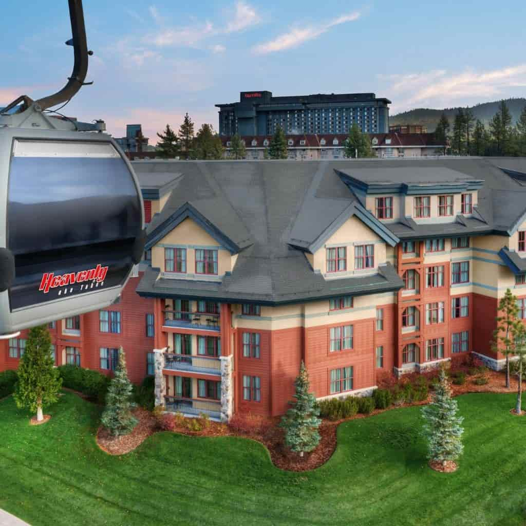 Ski lift and exterior of Marriott's Timber Lodge.