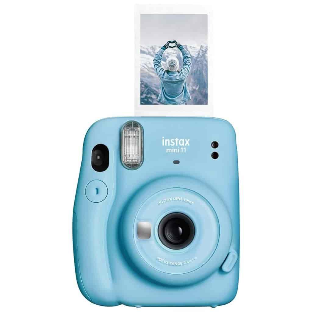 Sky blue Instax Mini 11 camera.