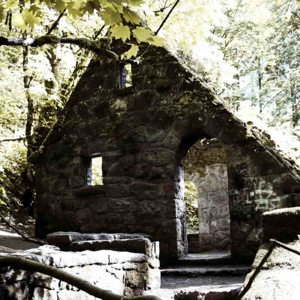 An old stone building in a forest called Witch's Castle.