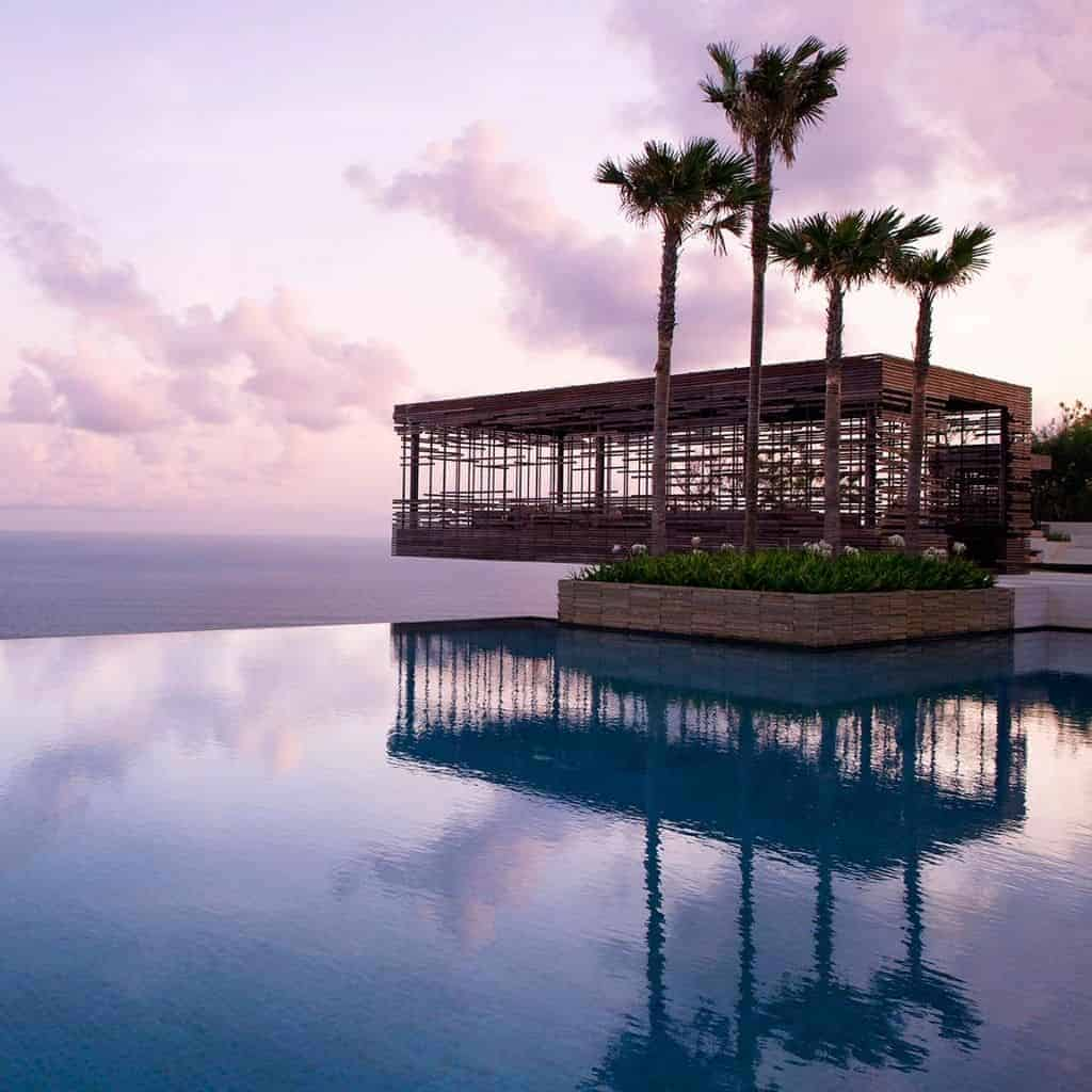 Infinity pool and ocean view at Alila villas in Bali.