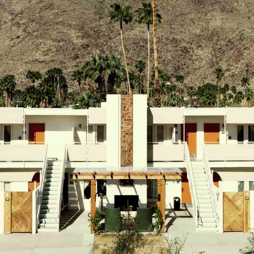 Exterior of Ace Hotel in Palm Springs.
