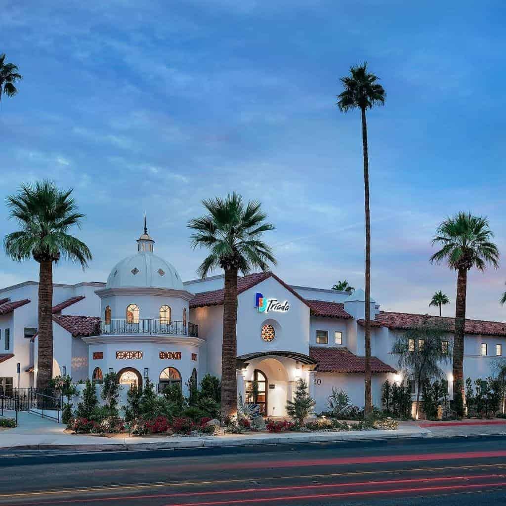 Exterior of Triada hotel in Palm Springs.