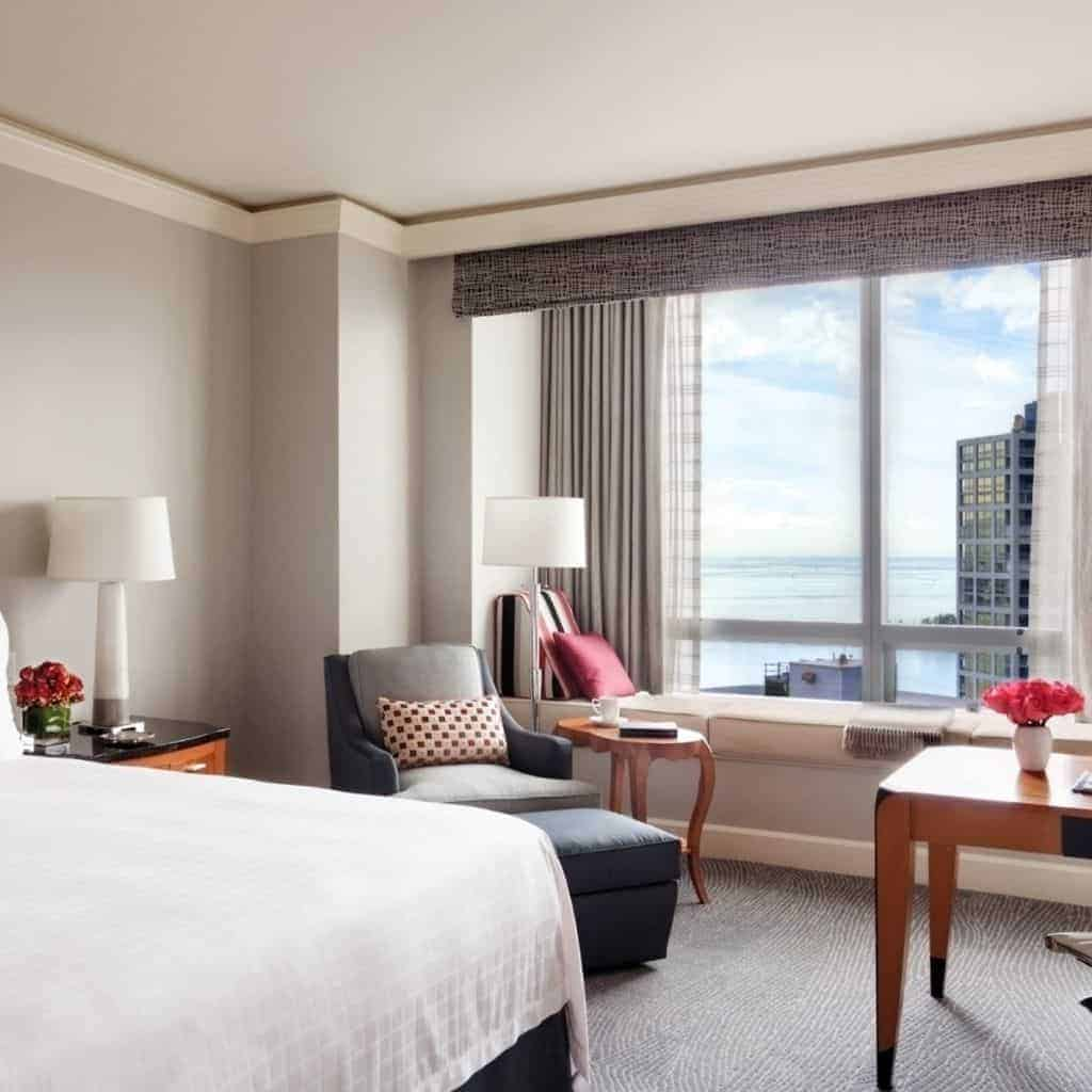 Hotel room at Four Seasons Miami with a view of the water.