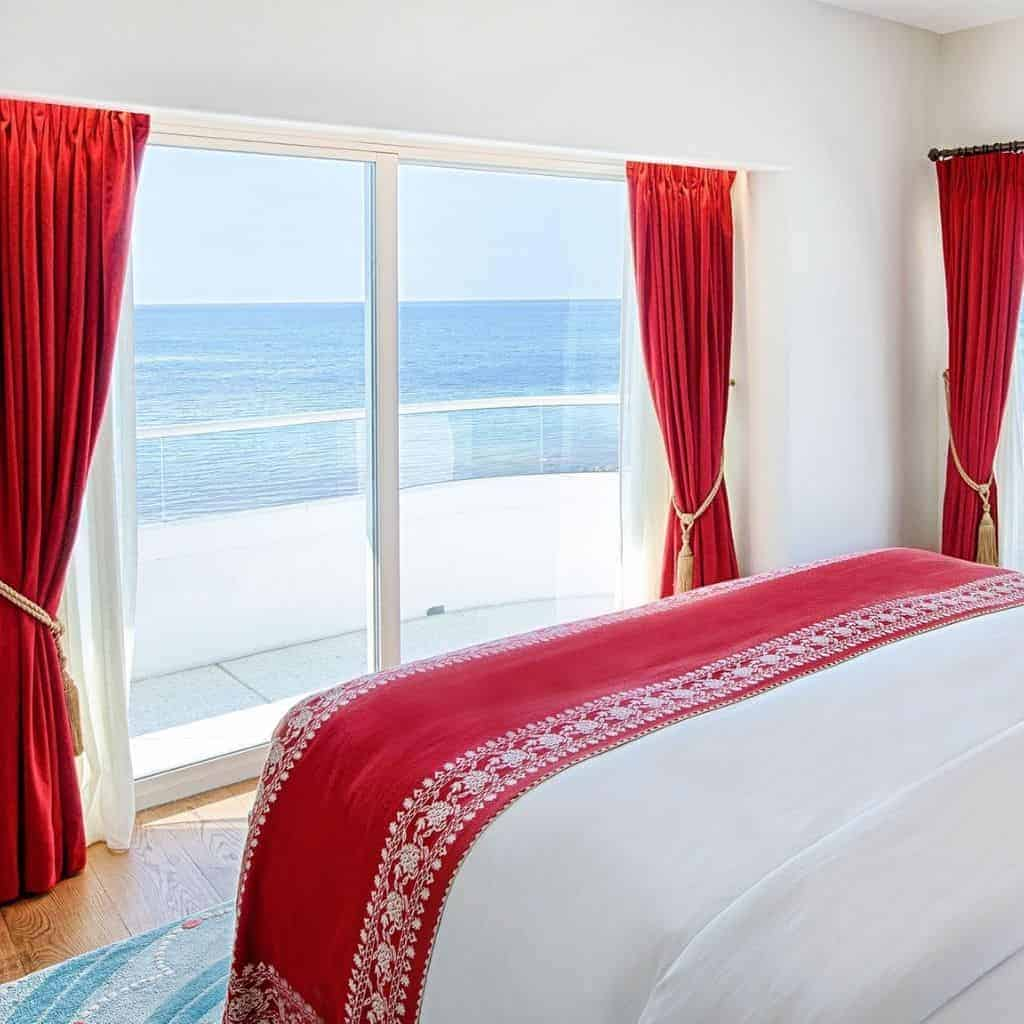 Guestroom at Faena hotel with an ocean view.