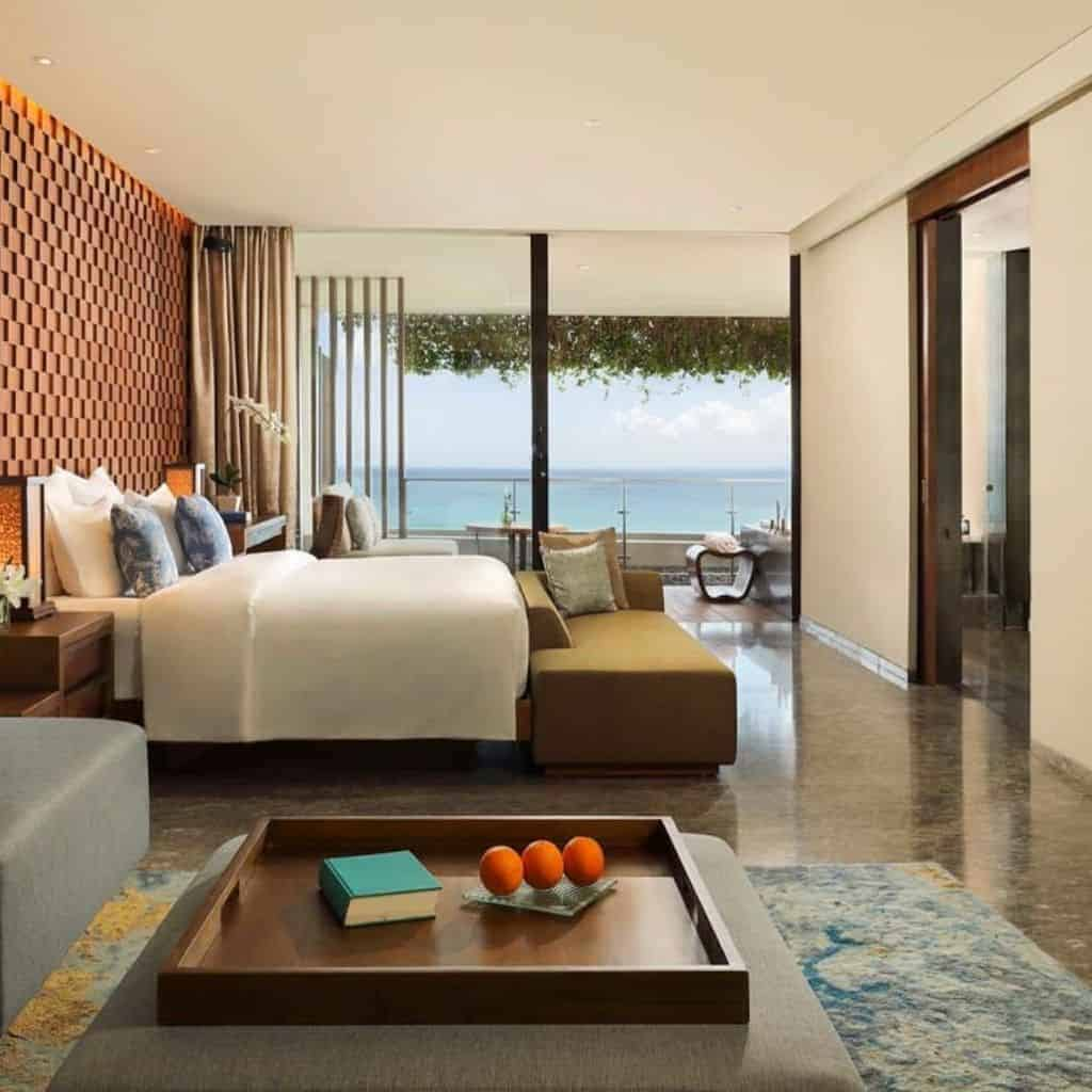 Ocean view suite at Anantara hotel in Bali.