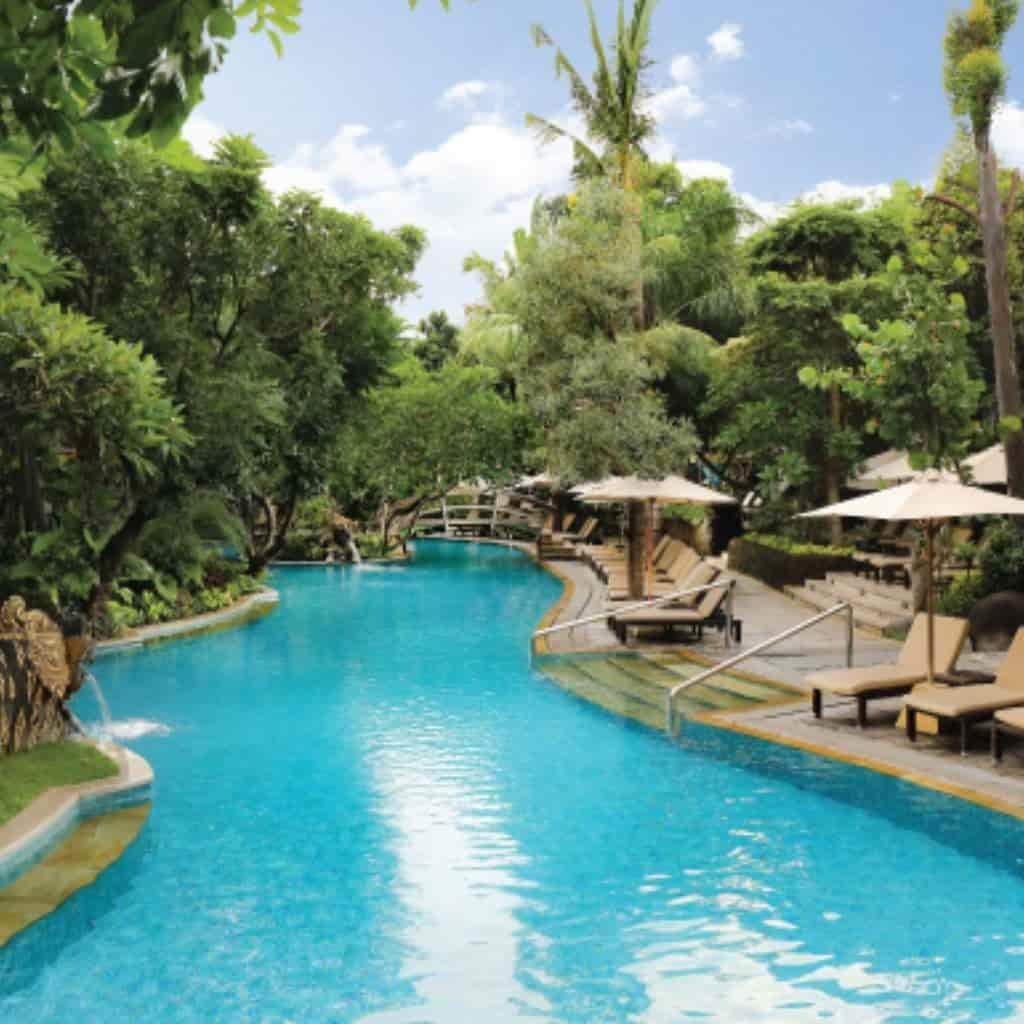 Pool and trees at Padma Resort Legian.