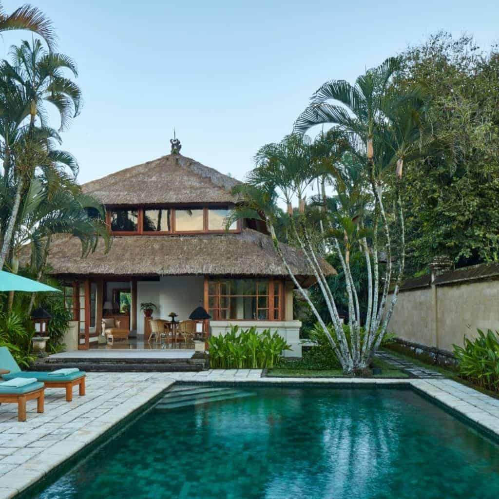 Pool and suite at Amandari resort in Bali.
