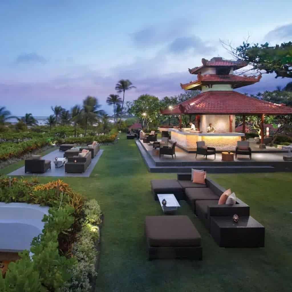 Outdoor restaurant at Grand Hyatt Bali.
