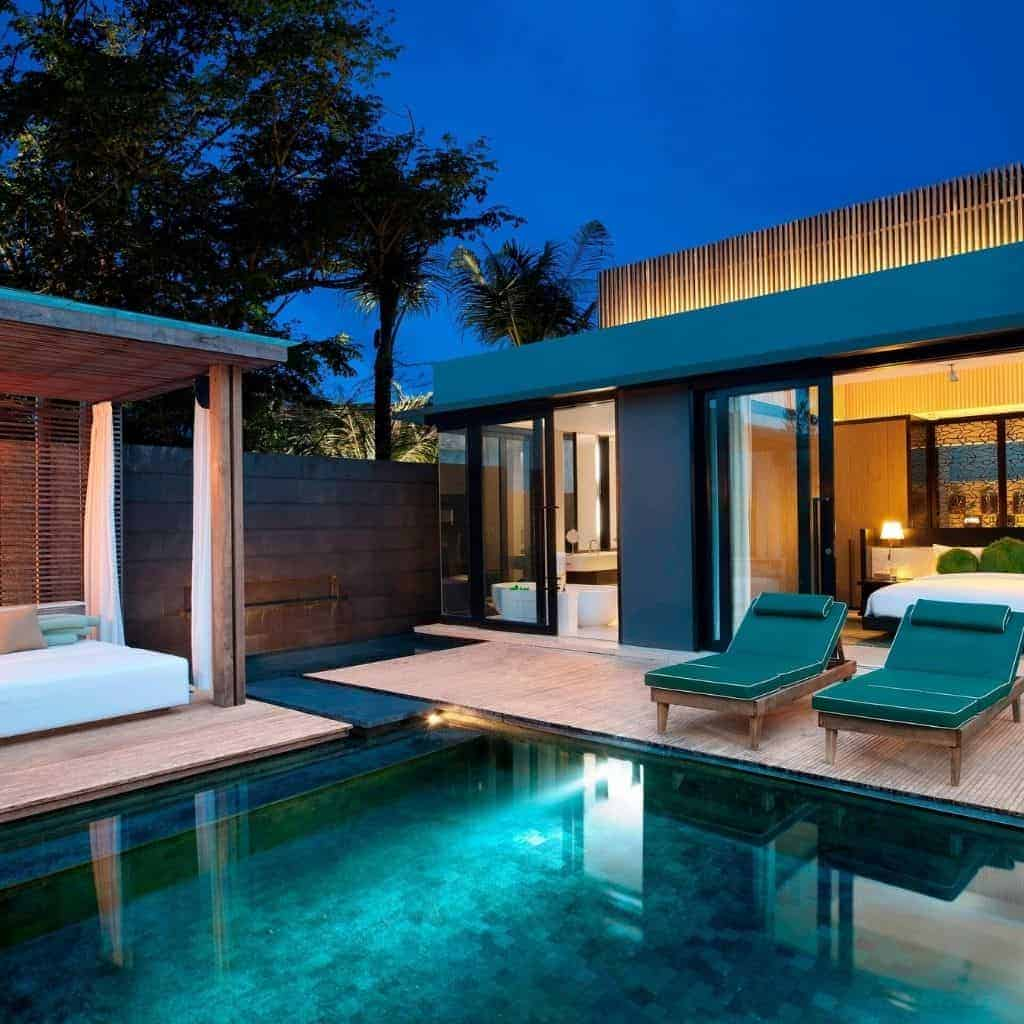 Villa with pool at W hotel in Bali.